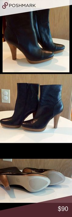 Steve Madden clarisa ankle boot. NWOT Super cute Steve Madden leather ankle boots.  Black leather boots with wood heal.  Size 7M. 4 1/4 inch heel (measuring from top to bottom at back of boot), side zipper.   These boots have never been worn - no defects.  Very soft leather. Steve Madden Shoes Ankle Boots & Booties