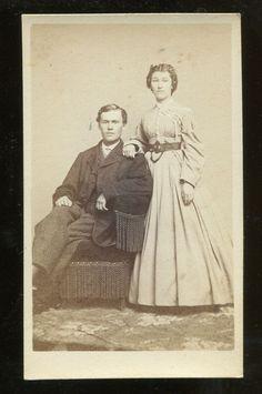 t3- SYRACUSE NY Lazier CDV Photo Young Couple Civil War era Revenue Stamp