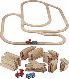 Wooden Train Tracks - 52 PCS Wooden Train Set + 2 Bonus T...