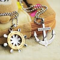 Hawaii Sailor Anchor Titanium Steel Couple Necklace