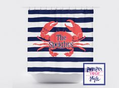 Coral And Navy Crab Shower Curtain Beach House Shower Curtain