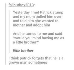 I'm just mad that this kid got to meet Patrick.