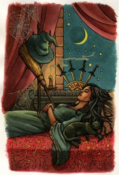 Four of swords, from subtitled deck in progress by Llewellyn - If you love Tarot, visit me at www.WhiteRabbitTarot.com