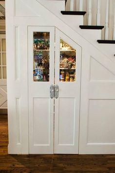 Glamorous Custom Kitchen Pantry under Stairs Custom Kitchen, Staircase Storage, Home, Kitchen Pantry, Under Stairs Pantry, New Homes, Storage, Rustic Kitchen, Stairs