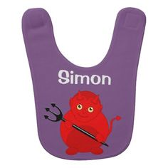 Cute fun cartoon of a Halloween red Devil Baby Bib - red gifts color style cyo diy personalize unique