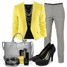 yellow blazer with modern fit trousers and grey and black accessories