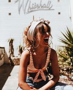 Summervibes | Headband | Earrings | Striped bikini | Printed bikini | Denim | Inspo | More on fashionchick.nl
