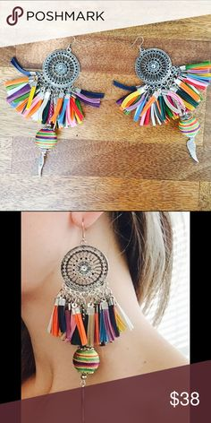 Colorful Handmade leather statement earrings Beautiful statement earrings• high quality silver-like elements•25 grams each • attention seekers✨ Jewelry Earrings