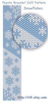 Snowflakes winter fashion Pattern Peyote Bracelet by rill