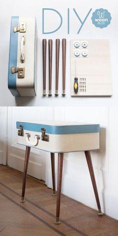 Avec les DIY on fait tout, même se fabriquer une table avec une ancienne valise ! Beau, pratique et 100% voyage ! #DIY #voyage #valise #table