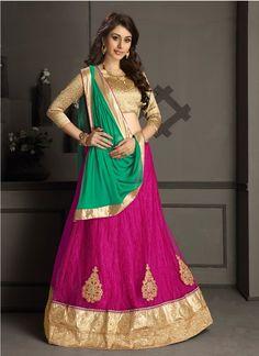 Pink Net Gotta Silk Designer Lehenga Choli #lehengacholi #designerlehengacholi #bridallehengacholi #weddinglehengacholi #onlinelehengashopping