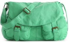 This bag is sold out and for good reason: It's a perfect shade of green.  Poppie Jones Washed Double Pocket Messenger Bag