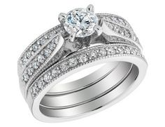 3 Pc Engagement Ring And Double Wedding Bands Bridal Set Love the