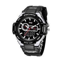 Men Wrist Watch  TVG Waterproof LED Digital Quartz Wrist Watch Rubber Band SportsMen Gift BoxColorWhite >>> You can get more details by clicking on the image.Note:It is affiliate link to Amazon.