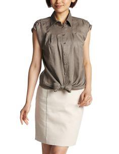Amazon: (ナラ カミーチェ)NARA CAMICIE リネンフロント結びシャツ