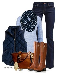 """Blue Polka Dots"" by archimedes16 ❤ liked on Polyvore featuring 7 For All Mankind, maurices, J.Crew, Coach, Salvatore Ferragamo, Michael Kors and Blue Nile"