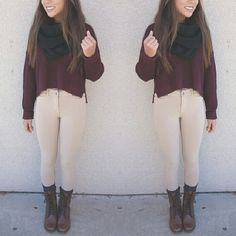 Winter fashion. Tan pants, maroon sweater, combat boots and scarf