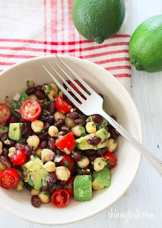 Black beans, chick peas, tomatoes, cilantro and avocado are tossed with a cumin-lime vinaigrette – bright, fresh and quick!