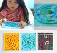 CD case and wikki stix homemade maze toy