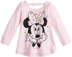 4a30547bb Disneyjumping Beans Disney's Minnie Mouse Baby Girl Long-Sleeve Glittery  Dot Graphic Top by Jumping Beans