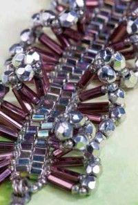 Free instructions--Ruffle Bracelet from Jamie Cloud Eakin's Bugle Bead Bonanza Wire Jewelry, Jewelry Crafts, Jewelry Art, Beaded Jewelry, Jewelery, Handmade Jewelry, Beaded Bracelets, Necklaces, Bugle Beads