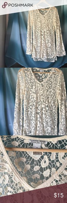 Vintage Alberto Makali Crochet Dress Beautiful summer dress! Great for the beach or after hours( a slip underneath and your good to go👌). Beige, long sleeve crochet dress. About 20in' in length from the armpit and 5in' splits on each side. A bit of a flare at the end of each sleeve which is so fun and flirty! Alberto Makali Dresses Mini