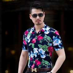 b85663c32d49 Click to Buy    men casual short sleeve shirt male hawaiian shirt leaf