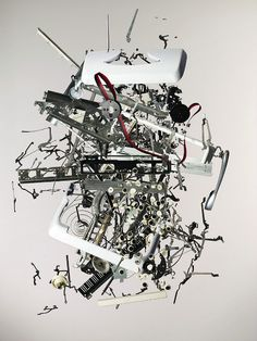 'Disassembly' is a series of photos by Toronto-based photographer Todd Mclellan that captures dismantled objects from our past. Each part is meticulously p Line Artist, Toronto, Old Technology, Latest Technology, Collages, Collage Art, Collage Drawing, Coming Apart, Oldschool