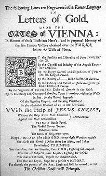"""Un pamphlet inglese che critica Luigi XIV e Mehmed IV per i loro rispettivi ruoli nella Battaglia di Vienna del 1683 (""""Senza l'aiuto della più cattolica delle maestà/ Contro il più anticristiano dei monarchi"""")"""