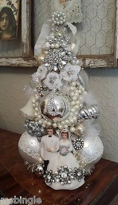 FABULOUS-vintage-Bride-Groom-Cake-Topper-Bottle-Brush-TREE-wedding-jewelry