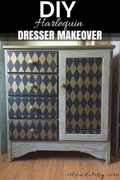 DIY Harlequin Dresser & Furniture Makeover using Classic Harlequin & Diamond Pattern Furniture Stencils from Royal Design Studio