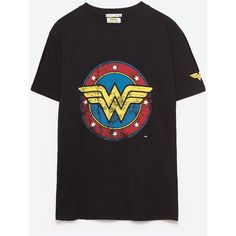 WONDER WOMAN T - SHIRT-Se alle varer-T-SHIRTS-DAME | ZARA Danmark (2,710 DOP) ❤ liked on Polyvore featuring tops and t-shirts
