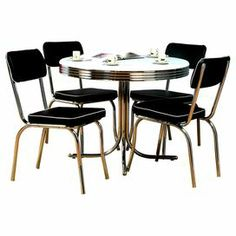 """Next """"big"""" purchase... Vintage style with this retro dining set, showcasing a pedestal base and a black finish.     Product: 1 Table and 4 chairsConstruction Material: Engineered wood , PVC laminate, metal  vinyl and foam Color: Black and chrome  Dimensions: Table: 30'' H x 38'' Diameter  Chairs: 38"""" H x 18.5"""" W x 18.5"""" D"""