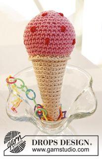"""Gehäkelte DROPS Eiswaffel mit 1 Eiskugel aus """"Paris"""". ~ DROPS Design - mit glöckchen drin wird das bestimmt eine ganz tolle kinderrassel"""