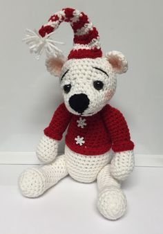 Crocheted Christmas bear snuggle buddy found on etsy@ memawscountrycrafts