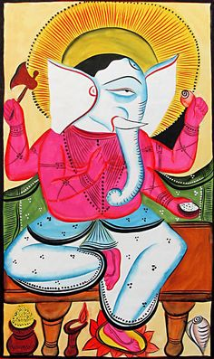 Lord Ganesha- Bengal Folk Art or Kalighat Painting $36.00 only