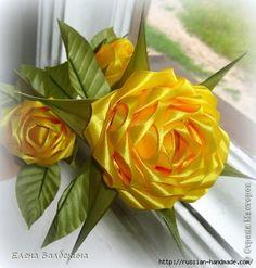 Цветы из лент. Красавица ЖЕЛТАЯ РОЗА (2) (458x480, 121Kb)