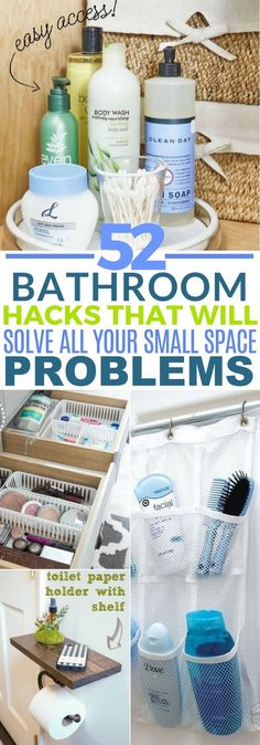 These 52 Bathroom Hacks Are AMAZING If You Are Struggling To Work With A Small Space! Pinning for later!