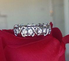 Tiffany & Co Schlumberger 16 Stone Diamond and Platinum Eternity Ring Size 7