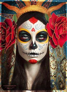 Dia de los Muertos  #DiaDeLosMuertos  #DayOfTheDead  #SugarSkull  #Images  #JuliaKuzmenko  #Art  #Kamisco