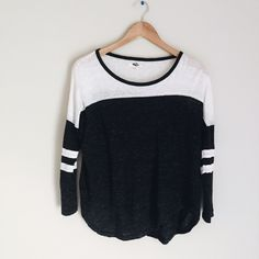 madewell baseball tee + black and white baseball style shirt + three quarter sleeves  + cut to be longer in front and back than on sides  + will fit an xs-med + the coloring has a vintage wash  NWOT // never worn  leave any questions in the comments!!   Closet policies  XX No trades XX No PayPal Bundles =5% Discounts Madewell Tops