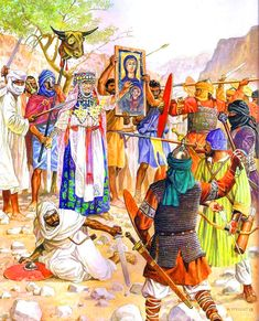Dahia al-Kahina - Queen of the Berber-Judean principality in her last battle with the troops of Hassan ibn Numan, 703 AD- by Marek Szyszko Historical Art, Historical Pictures, Byzantine Army, Medieval Drawings, Arabian Art, Early Middle Ages, Berber, History Memes, Military Art