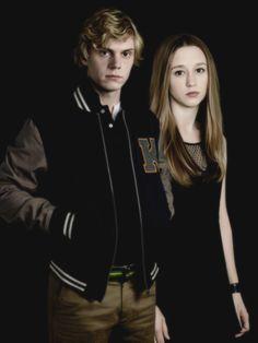Evan Peters as Kyle and Taissa Farmiga as Zoe, Coven.