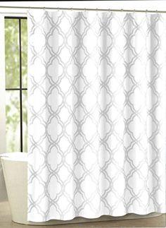 Max Studio Home Cotton Shower Curtain Moroccan Tile Quatrefoil Gray and White Lattice 72-inch By 72-inch (White/Gray)