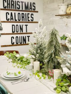 Christmas centerpiece ideas to inspire you all season long! Add eucalyptus leaves to your table to create simple Christmas decor! Tree Centerpieces, Wedding Reception Centerpieces, Simple Centerpieces, Christmas Centerpieces, Christmas Decorations, Centerpiece Ideas, Graduation Centerpiece, Quinceanera Centerpieces, Mini Christmas Tree