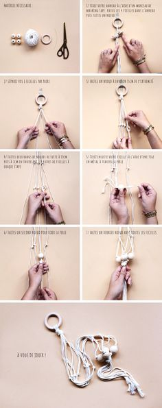 DIY – Suspension macramé pour plante - moodfeather blog Macrame Art, Macrame Knots, Diy Suspension, Do It Yourself Inspiration, Macrame Plant Holder, Deco Boheme, Macrame Tutorial, Hanging Planters, Diy And Crafts