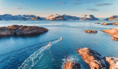 For a ski trip unlike any other, head to Norway's Lofoten Islands and hike mighty peaks, descend unnamed ski runs and apres ski on a traditional schooner. Out To Sea, Lofoten, Adventure Travel, Norway, Skiing, Northern Lights, Travel Destinations, Apres Ski, Acrylic Art