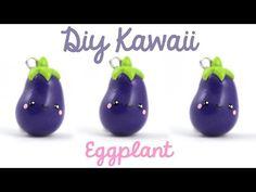 Kawaii Eggplant polymer clay charm tutorial