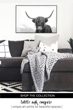 Gorgeous Black and White Highland Cow Art by Little Ink Empire available in a range of sizes. Also available in colour version. Scandinavian Poster, Design Scandinavian, Scandinavian Living, Black Decor, White Decor, White Art, Black Art, Black White, Highland Cow Art