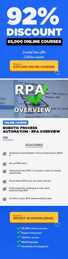 Robotic Process Automation - RPA Overview Operations, Business #onlinecourses #onlinelearningcollege #onlinedegreepeople  Learn Robotic Process Automation to Unleash a Modern RPA Career If you're not learning robotic process automation, or, RPA, right now… you're already behind. Much in the same way physical robots have been rapidly replacing industrial, blue-collar jobs, software robots will be...